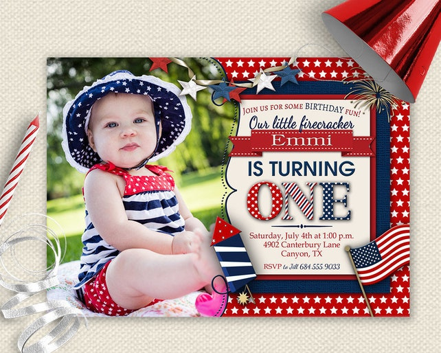 4th Of July Invitation 1st Birthday Invite First