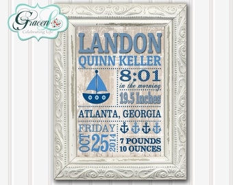 Baby Announcement Sign, Newborn Announcement Sign, Birth Announcement Sign, Printable 8x10, 11x14 or 16x20