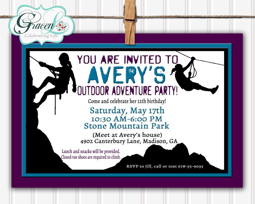 Rock Climbing Party Invitation Adventure Birthday Invitation | Etsy