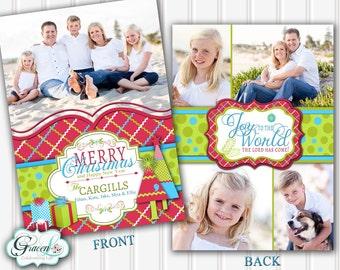 Photo Christmas Card, Holiday Photo Card, Christmas Card, Colorful, Script Christmas, Merry Christmas, Modern Christmas, Multiple Photos