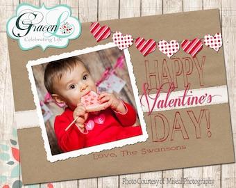 Valentine Photo Card, Happy Valentine's Day, Brown & Red wih hear bunting Valentine's Day Card