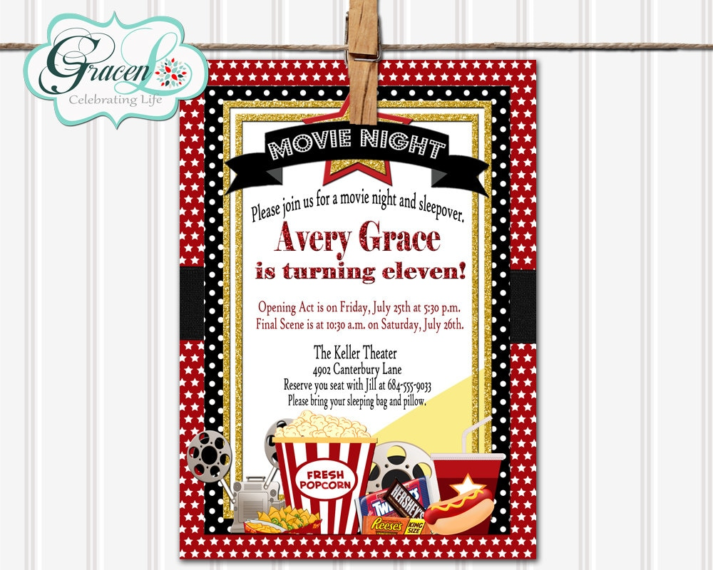 Movie Sleepover Birthday Invitation Movie Night Sleepover | Etsy