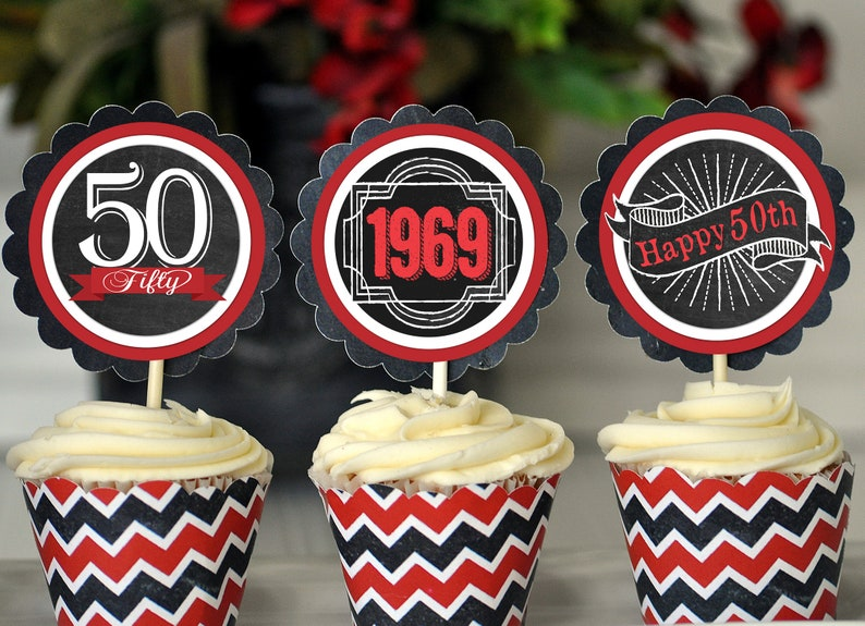 50th Birthday Cupcake Toppers Decoration