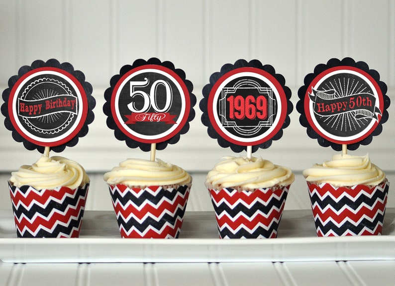50th Birthday Cupcake Toppers Decoration Party Favors Surprise