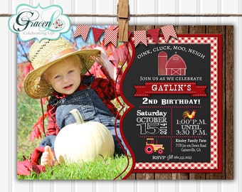 Barnyard, Barnyard Birthday, Barnyard Party, Farm Party, Farm Animals, Farm Birthday, Birthday Invitation, Barnyard Invitation, Chalkboard