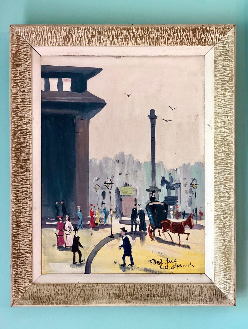 Set of 2 Vintage Cityscape Paintings Original Art Wall Hanging Original Painting Signed