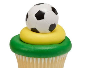 Soccer Ball Cupcake Rings 12 CT/ Soccer Lover's Cupcake Toppers/ Soccer Ball Cake Toppers/ Soccer Ball Favors