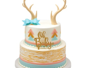 Deer Antlers Cake Topper Animal Kit Wild One Lumberjack Hunting