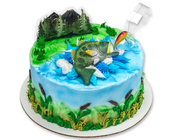 Large Bass Fish Topper Fishermans Birthday Cake