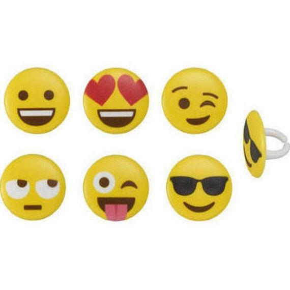 Emoji Cupcake Rings 12 CT Party Birthday
