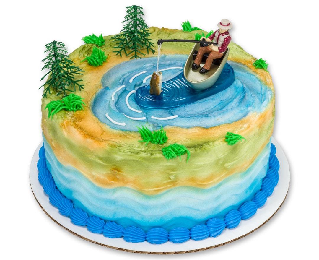 Fishing Cake Topper/ Fisherman\'s Birthday Cake Topper/ | Etsy