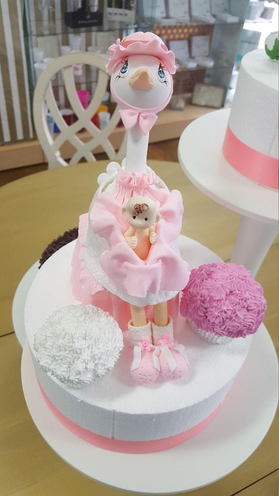 Cigüeña rosa bebé ducha torta Topper recuerdo frío Porcelian rosa ...