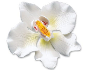 Gum Paste White Orchid Cake Topper/ Edible Cake Flowers/ Orchid Cake Topper/ Orchid Sugar Flowers/ White Orchids for Cakes