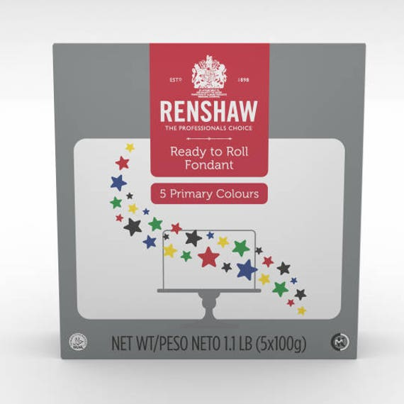 Renshaw Ready To Roll Fondant/ 5 Color Multipack/ Primary Colors.