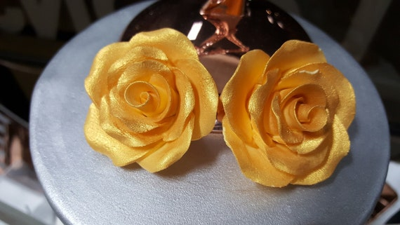 Essbare Metallisches Gold Rose Kuchen Topper Gold Rose Kuchen Etsy