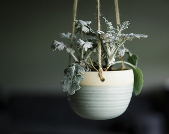 "CERAMIC HANGING PLANTER // handmade planter in Turquoise. (Other colors available in ""Hanging Planters"" section.)"