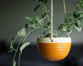 CERAMIC HANGING PLANTER // handmade - succulent planter - string of pearls- hostess gift- greenery decor- deep goldenrod
