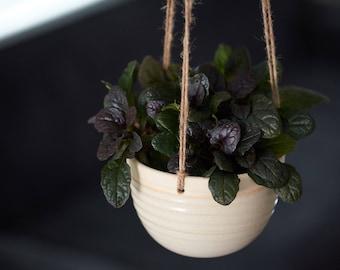 CERAMIC HANGING PLANTER // handmade - succulent planter - ceramic planter - hostess gift - minimalist decor - ivory