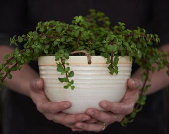 LARGE HANGING PLANTER // handmade - ceramic planter - modern hanging planter - jungalo - succulent planter - indoor garden - speckled cream