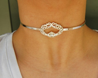 9d822f9b3 Discreet Micro Claddagh Solid 925 Sterling Silver Neck Cuff Locking BDSM  Slave Sub Submissive Pet Babygirl Bondage Day Collar ToBeHis