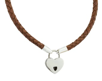 01089642a Camel Tan Brown Leather and Solid 925 Sterling Silver Ends Locking BDSM  Slave Submissive Sub Pet Bondage Day Collar