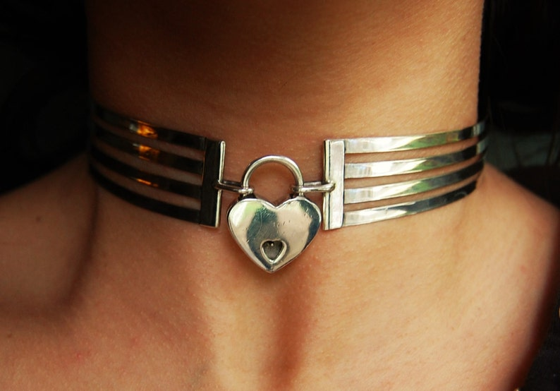 Sierstrip Chroom Badkamer : The cage collar solid hypoallergenic 925 sterling silver neck etsy