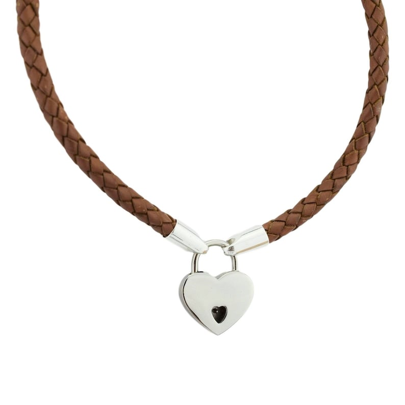 Camel Tan Brown Leather and  Solid 925 Sterling Silver Ends Locking BDSM Slave Submissive Sub Pet Bondage Day Collar