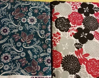 100 hundred percent cotton fabric/flowers/butterfly/quilting/crafts/sewing/apparel/by the yard