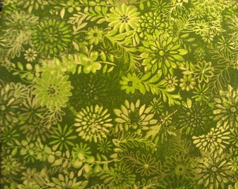 100 percent cotton batik fabric/green/lime green/quilting/crafts/apparel/by the yard
