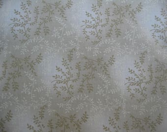 100 percent cotton fabric/beige with vines/quilting/apparel/crafts/by the yard