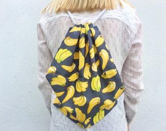 Handmade banana print drawstring backpack