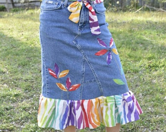 70254ac28 Rainbow Woman Skirt, Upcycled Ruffle Skirt, Pride Festival Appliqué Denim  Skirt, Pride Color Fashion, Recycled Gay Color LGBTQ, Size 6