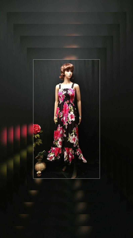 2fdbc87df0c Women Maxi Dress Pink Hibiscus Print Elastic Straps Maxi