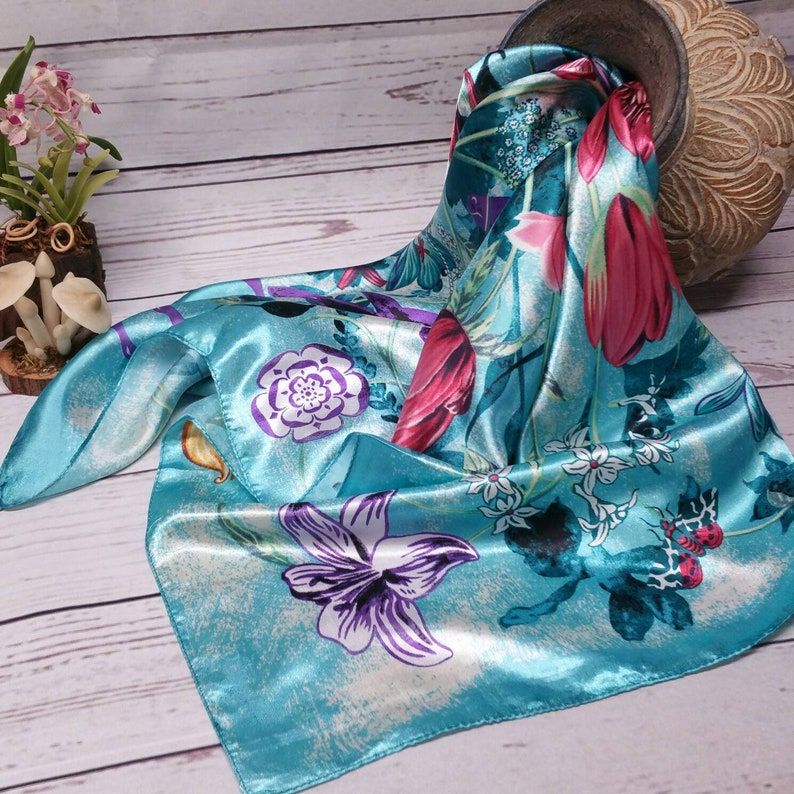 Summer Handkerchief Halter Top Evening Party Dress woman S-M Turquoise Blue Tropical Flowers Animal Printed Scarf Dress Satin Scarf Dress