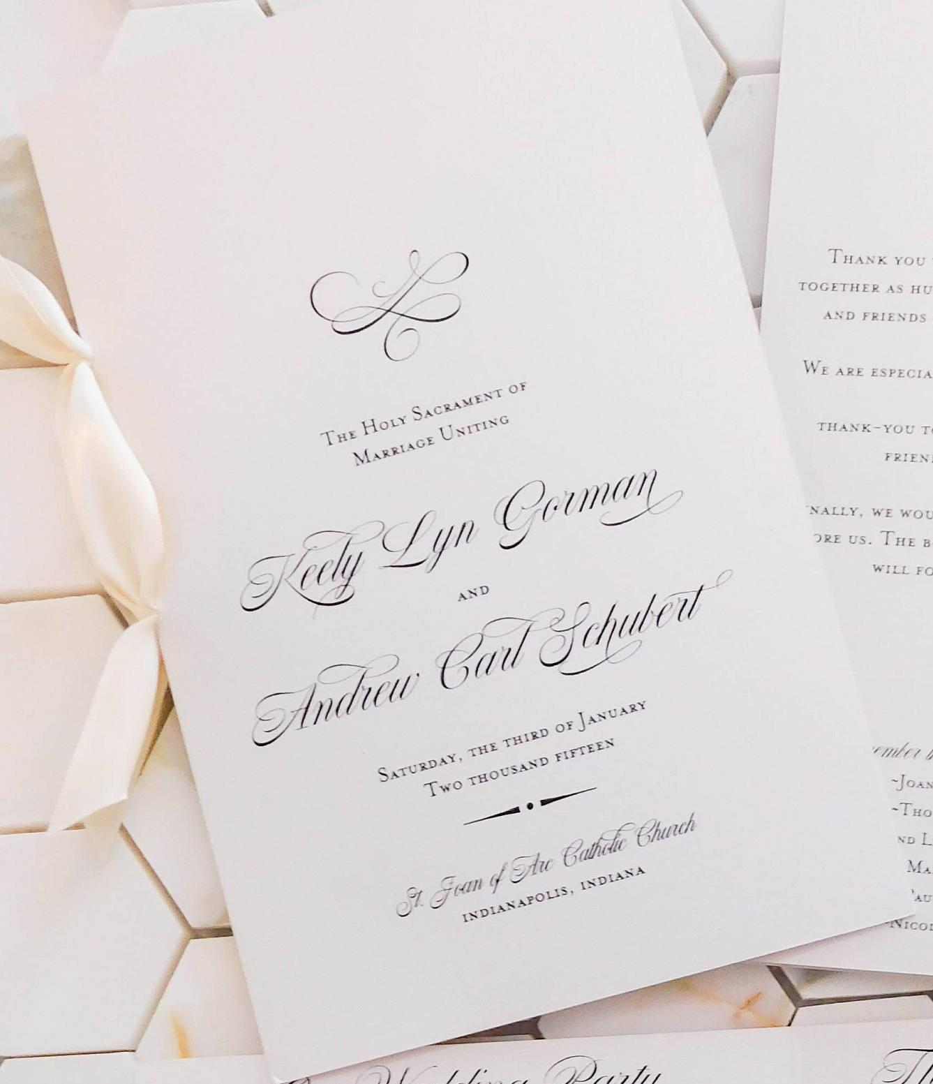 Classic Wedding Program With Ribbon Folded 8.5 X 11