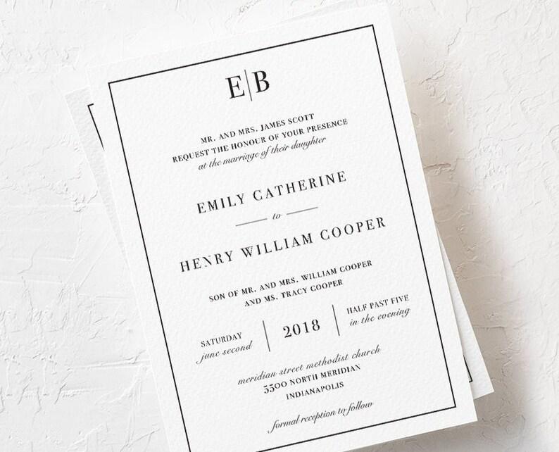 Emily Modern Wedding Invitation Set - Digital Download - Printable -  Invitation Suite - Custom Stationery - Black and White