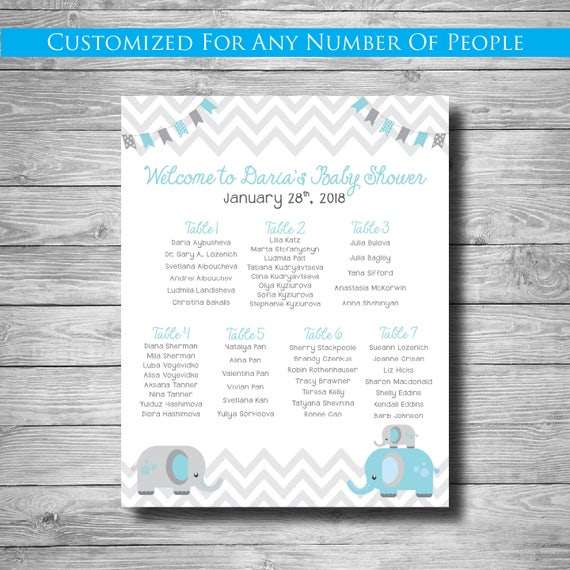 Baby Shower Seating Chart Chevron Any Theme Digital Or Etsy