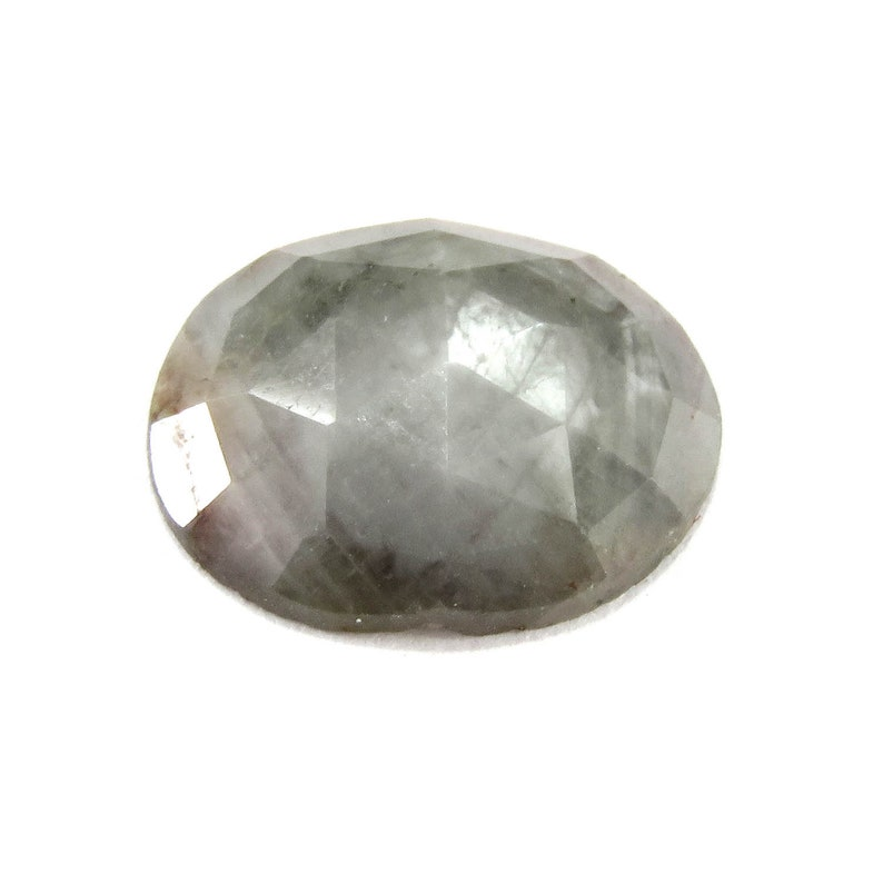 10x8 mm Gray Sapphire Rainbow Gray Silver Sapphire Oval Cabochon Rose Cut Slice Raw Sapphire Loose Gemstone gift for her