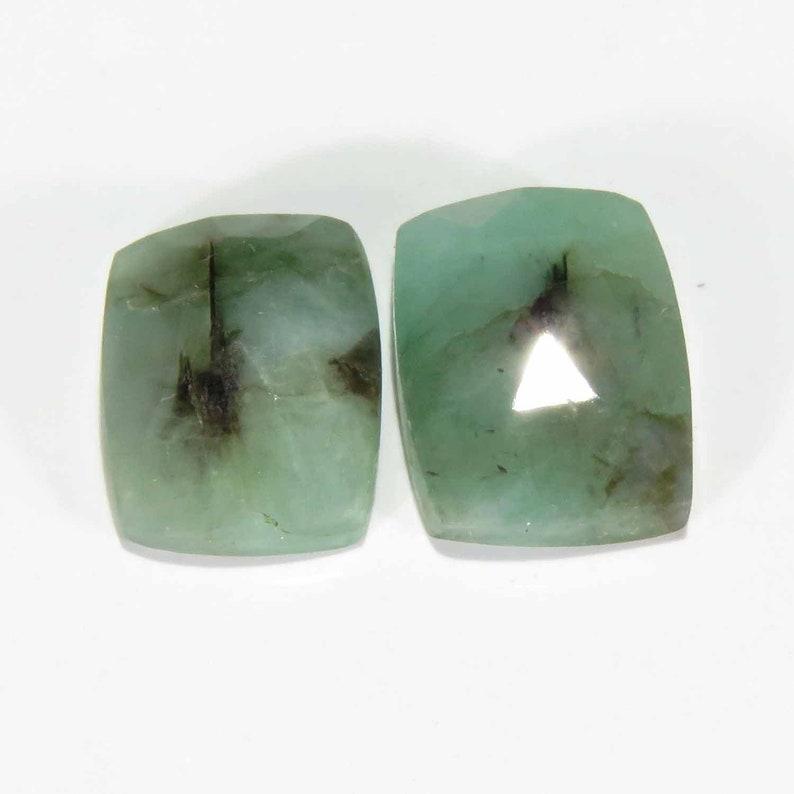 Emerald Rose Cut Cushion Pair Size 8x11x4 mm Cabachon Loose Parcel Raw Emerald Loose Gemstone Cabochon Slice Matched Gemstone Pair
