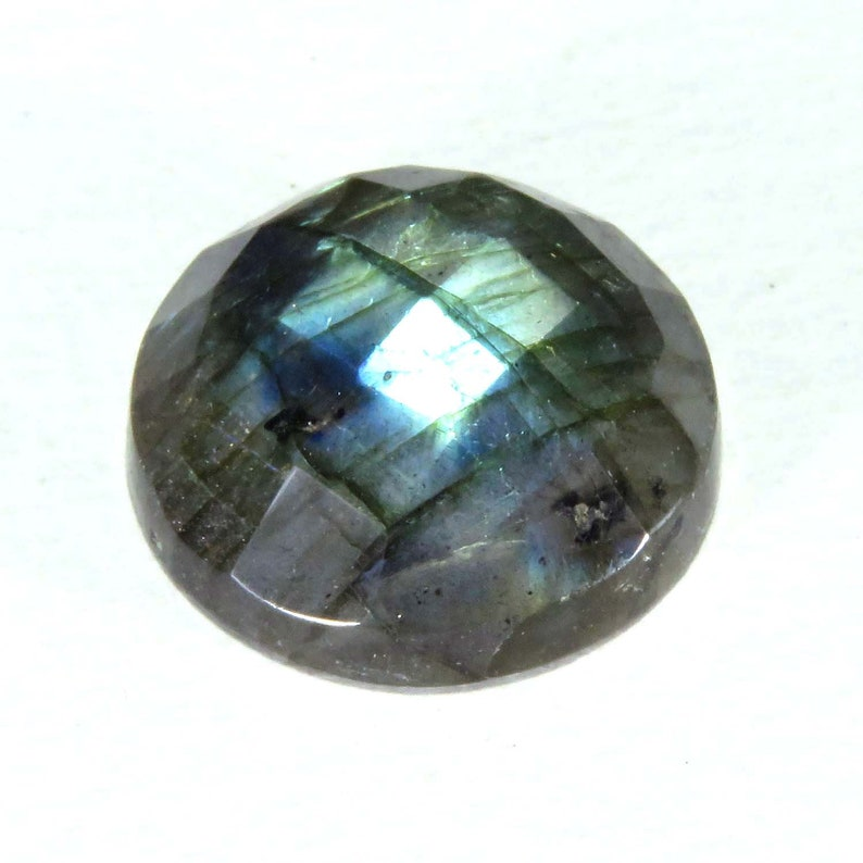 Labradorite Checker Cut Natural Blue Flashy Labradorite Loose Semi precious Round Size 17x17 mm Gemstones Making Jewelry.
