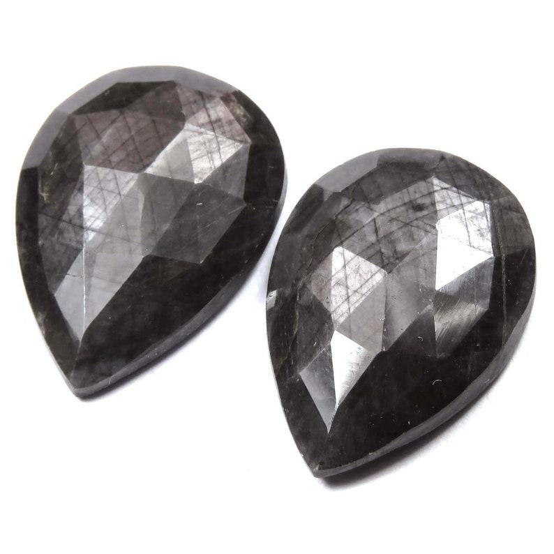 Rainbow Silver Sapphire Rose Cut Pear Size 12x16x4 mm Rare Gray Silver Sapphire Raw Rose Cut Pair September Birthstone Loose Gemstones.
