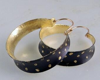 Oxidized Copper & Gilt Hoop Earrings  Anticlastic Hoops