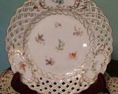 Scattered Flowers, MEISSEN Dresden, Richard Klemm, Antique Porcelain China Plate, Reticulated, Pierced Rim, Gold Trim, Made in Germany