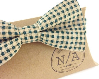 Beige and Forest Green Bow Tie- men's bow tie- adjustable- pre-tied