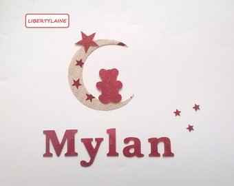 525d2ceb20d1 Set customize Teddy bear on Moon fabric linen Red Star and red glitter flex  fusible appliqué