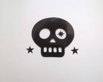 eb3b53ff38b3 Appliqués thermocollants tête de mort et étoiles flex noir pailleté