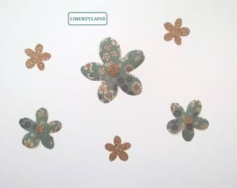 Fusible applique set 6 fabric flowers FrouFou and flex gold glitter