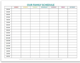 family schedule etsy