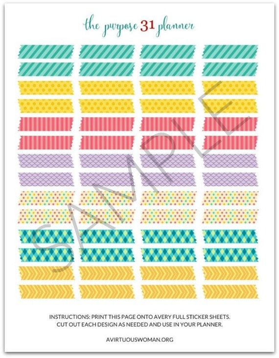 picture about Printable Washi Tape titled PDF: Printable \