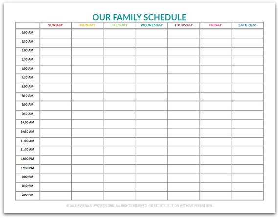 pdf our family schedule chart etsy